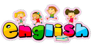 Word design for english with happy kids illustration